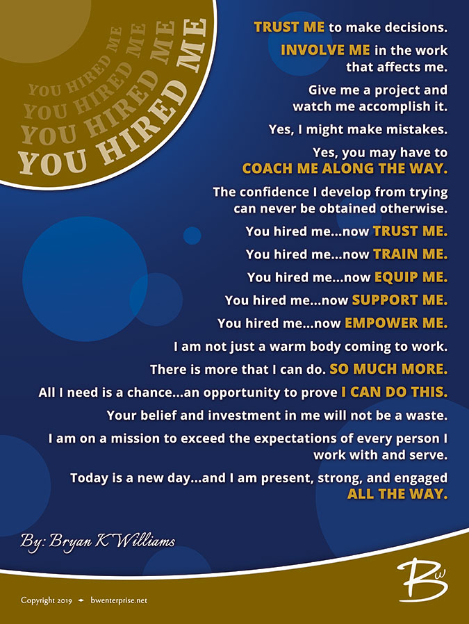 You Hired Me Poster